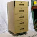 "Fenco Bus Teller Pedestal Cabinet 214-BC-18-A - 5 Drawers 18""W x 19""D x 38-1/2""H Champagne"