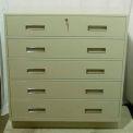 "Fenco Teller Pedestal Cabinet 229-B - 5 Full-Width Drawers 36""W x 19""D x 38-1/2""H Black"