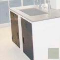 "Lab Base Cabinet Sink Base 58""W x 22-1/2""D x 35-3/4""H Louvered Panels W/2 Cupboard Doors, Champagne"