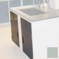 "Lab Base Cabinet Sink Base 58""W x 22-1/2""D x 35-3/4""H Louvered Panels W/2 Cupboard Doors, Stone Gray"