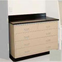 "Lab Base Cabinet 35""W x 22-1/2""D x 35-3/4""H, 2 Drawers & 3 Full Width Drawers, Champagne"