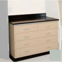 "Lab Base Cabinet 35""W x 22-1/2""D x 35-3/4""H, 2 Drawers & 3 Full Width Drawers, Stone Gray"