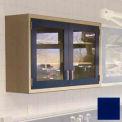 """Lab Wall Cabinet 35""""W x 13""""D x 30""""H, 2 Glass Steel Encased Doors, 2 Adj Shelves, Navy Blue"""