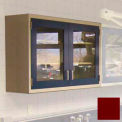 "Lab Wall Cabinet 35""W x 13""D x 30""H, 2 Glass Steel Encased Doors, 2 Adj Shelves, Burgundy"