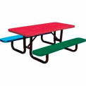 6' Child's Picnic Table, Perforated Metal, In-Ground Mount, Multi Colors