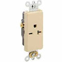 Leviton 16451-I 20A, 250V, Decora Plus Single Receptacle, Commercial Grade, Self-Grounding, Ivory
