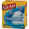 Glad® ForceFlex Tall Kitchen Drawstring Trash Bags - White, 13 Gal, 0.9 Mil, 100/Box - 70427