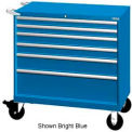 "Lista 40-1/4""W Mobile Cabinet, 6 Drawers, 84 Compart - Bright Blue, Master Keyed"