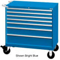 "Lista 40-1/4""W Mobile Cabinet, 7 Drawers, 94 Compart - Classic Blue, Keyed Alike"
