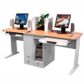 Double Person Computer Desk with Pullout Tray - Laminate Top Gray Frame