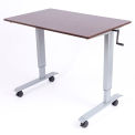 "Luxor Standing Desk - Crank Adjustable Height - 47-1/4""L x 29-1/2""W - Walnut"