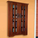 Wall Mounted Mission Style Glass Door Multimedia Storage Cabinet Walnut, 190 CDs