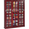 Mission Style Sliding Glass Door Multimedia Storage Cabinet Dark Cherry 1050 CDs