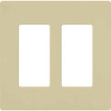 Claro® Wallplate, Gloss/Stainless Steel, 2 Gang, Ivory