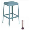 "Lyon® All-Welded Stool with Steel Seat - Black Rubber Feet 18""H Dove Gray"
