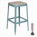 "Lyon® All-Welded Stool with Wood Seat - Black Rubber Feet 18""H Dove Gray"