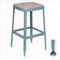 "Lyon® All-Welded Stool with Wood Seat - Black Rubber Feet w/ Steel Glide 22""H Dove Gray"