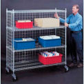 "Three-Sided Open Wire Cart w/ Four Shelves, 60""Wx18""Dx68""H"