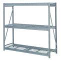 "Bulk Storage Rack Add-On, 3 Tier, Wire Decking, 84""W x 24""D x 84""H Blue"