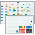 "Magna Visual® Dry Erase Board, 1""X2"" Grid w/Magnetic Strip Planning Kit, 48""W x 36""H"