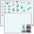 "Magna Visual® Porcelain Dry Erase Board, 1""X2"" Grid w/Magnetic Cardholder Kit, 48""W x 36""H"
