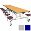 12' Mobile Cafeteria Stool Unit with Plywood Top, Blue Top/Gray Stools