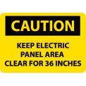 "NMC C533PB OSHA Sign, Caution Keep Electric Panel Area Clear For 36 Inches, 10"" X 14"", Yellow/Black"