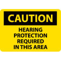 "NMC C88P OSHA Sign, Caution Hearing Protection Required In This Area, 7"" X 10"", Yellow/Black"