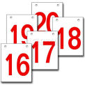 "Hanging Aisle Sign, Vertical, 1-Side, 16-20 Range, RD/WHT, 20""L X 28""H"