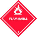 "NMC DL158P DOT Placard, Flammable 3, 10-3/4"" X 10-3/4"", White/Red"