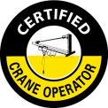 "NMC HH105 Hard Hat Emblem, Certified Crane Operator, 2"" Dia., White/Yellow/Black"