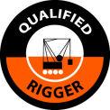 "NMC HH117 Hard Hat Emblem, Qualified Rigger, 2"" Dia., White/Orange/Black"