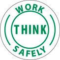 "NMC HH12 Hard Hat Emblem, Work Think Safely, 2"" Dia., White/Green"