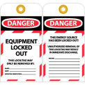 "NMC LOTAG37-25 Tags, Danger Equipment Locked Out, 6"" X 3-1/4"", White/Red/Black, 25/Pk"