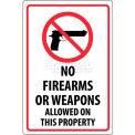"NMC M452R Security Sign, No Firearms Or Weapons Allowed On This Property, 18"" X 12"", White/Red/Black"