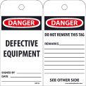 "NMC RPT59 Tags, Danger Defective Equipment, 6"" X 3"", White/Red/Black, 25/Pk"