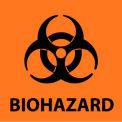"NMC S52R Warning Sign, Biohazard, 7"" X 7"", Black on Orange"