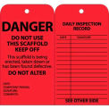 "NMC SPT1 Tags, Scaffold Inspection W/Grommet, 6"" X 3"", Red, 25/Pk"
