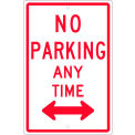 """NMC TM016H Traffic Sign, No Parking Any Time With Double Arrow, 18"""" X 12"""", White"""