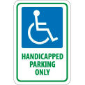 """NMC TM145J Traffic Sign, Handicapped Parking Only, 18"""" X 12"""", White/Blue/Green"""