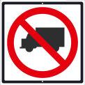 """NMC TM537J Traffic Sign, No Trucks Sign, 24"""" x 24"""", White"""