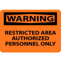 "NMC W10RB OSHA Sign, Warning Restricted Area Authorized Personnel Only, 10"" X 14"", Orange/Black"