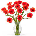 Nearly Natural Gerber Daisy Liquid Illusion Silk Flower Arrangement, Orange