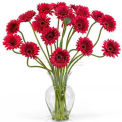 Nearly Natural Gerber Daisy Liquid Illusion Silk Flower Arrangement, Red