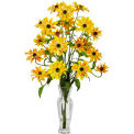 Nearly Natural Cosmos with Vase Silk Flower Arrangement, Yellow