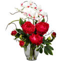 Nearly Natural Peony & Orchid Silk Flower Arrangement, Red