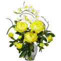 Nearly Natural Peony & Orchid Silk Flower Arrangement, Yellow