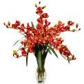 Nearly Natural Cymbidium Orchid Silk Flower Arrangement, Burgundy