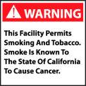 California Proposition 65 Vinyl Sign - Warning This Facility Permits Smoking