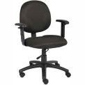 Boss Office Task Chair with Arms - Fabric - Mid Back - Black